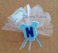 Erkek / Mavi Bebek Tulumlu Keçe Bebek Şekeri