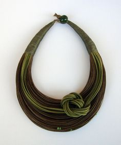 Olive Green and Brown Fiber Statement Necklace by superlittlecute Rope Jewelry, Thread Jewellery, Beaded Jewelry, Fabric Necklace, Fabric Jewelry, Beaded Collar, Collar Necklace, Green And Brown, Olive Green