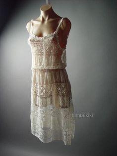 Ivory Sheer Crochet Lace Vtg-y 20s 30s Lingerie Style Blouson Slip 87 ac Dress