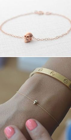 Personalized Photo Charms Compatible with Pandora Bracelets. Tiny Skull Bracelet <3