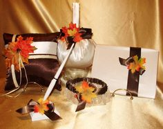 One Fall Flower Girl Basket, 1 Ring Pillow,Guest Book,Pen, 2 garters  #CUSTOMMADEUSA   THESE LOVELY ITEMS ARE AVAILABLE IN MY STORE ON EBAY  PLEASE SEE GIDESIGNS  OR KRINGLE3 FOR ALL MY CUSTOM MADE ITEMS IN THE COLORS OF YOUR CHOICE TO MAKE YOUR WEDDING DAY SPECIAL AND UNIQUE.