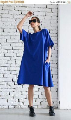SALE Extravagant Short Maxi Dress/Royal Blue Loose