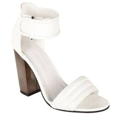 Sandales matelassées à talon miroir femme - Blanc- Vue 1