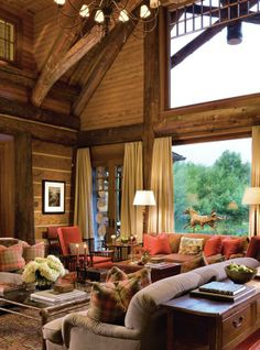 This timber frame mountain home was designed as a family vacation retreat by architects Shope Reno Wharton, located in Aspen, Colorado. Log Cabin Living, Log Cabin Homes, Log Cabins, Colorado Mountain Homes, Little Cabin, Cabins And Cottages, My Dream Home, Great Rooms, Sweet Home