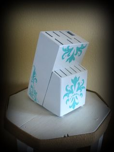 Upcycled Knife Block, White and Teal Stencil Knife Block via Etsy