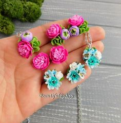 Tiny flower jewelry made from polymer clay #jewelry #studs #blue #pink #flower #peony #handmade #polymerclay #wedding #style #necklace