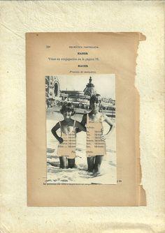 Collage Libro de Gramática y foto. Papel antiguo. Obra de Alejandra Correa. www.ale-correa.com