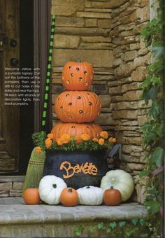 Pumpkin tower for front porch.