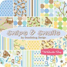 """Snips & Snails Collection 5"""" Stacker Doodlebug Design for Riley Blake Designs - Fat Quarter Shop"""