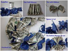 diy money lei | Note: Using crisp bills works much better when making this item.