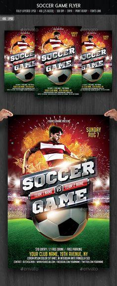 Soccer Game Flyer Template PSD. Download here: http://graphicriver.net/item/soccer-game-flyer-template/14789249?ref=ksioks