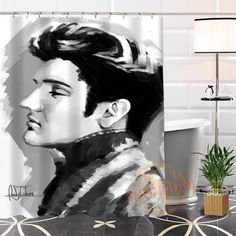New Eco-friendly Custom Unique Elvis Presley Fabric Modern Shower Curtain bathroom Waterproof for yourself H0220-25