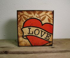 Tattoo Love Heart Art Block PaintingValentines Day  by MatchBlox, $25.00
