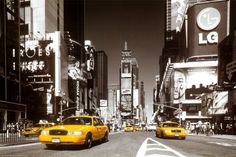 Times Square - Yellow Cab.   Click to buy this City Art Poster!