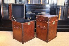 Leather Trunks & Luggage - A good pair of bespoke leather trunks, with a lovely colour and great proportions, made up with antique leather, that will work well as a bedside tables or sofa tables. Leather Suitcase, Leather Box, Leather Luggage, Old Luggage, Vintage Luggage, Luggage Bags, Coffer, Cigarette Case, Sofa Tables
