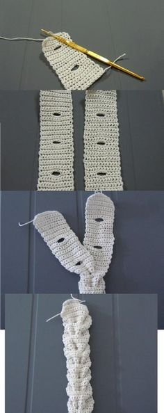 """cool crochet technique – this """"braid"""" can be used around hats, beanies, cowl, as a belt…   Dreamy Blog"""