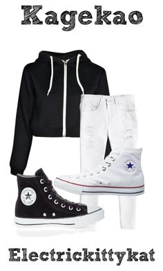 """Kagekao"" by electrickittykat ❤ liked on Polyvore featuring Boohoo, Converse and kagekao"