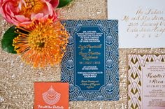 Moroccan Inspired Wedding Invitation   onelove photography   Bold Colors and Modern Sparkle in Palm Springs for a Glam Desert Wedding
