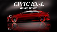 HOnda CIVIC Red Tuning EX-L HOW to DRAW and TIME LAPSE (desenho automobi...