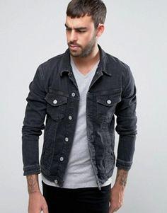 1e06171fca Image result for black denim jacket men Black Denim Jacket Outfit
