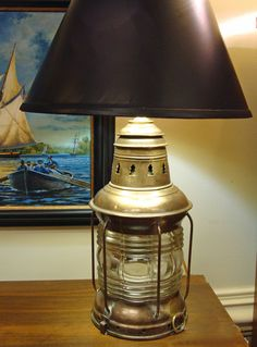 Re-Purposed National Marine Co Lantern Table Lamp- Nautical Lamps and Lighting