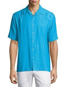 Neiman Marcus Silk-Blend Twill Sport Shirt, Breezy Blue, Men's, Size: L, Breezy Blu