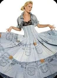 I'm not sure which would make this dress heavier to wear - the denim or the shame.