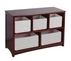 "The Classic Espresso Collection is a beautiful combination of design, functions and features. The collection features a rich, espresso finish and boasts a great selection of storage, seating and accessory pieces. Adult assembly required. Ages 3+ Perfect for storing books, toys or games. Fixed center shelf and finished back panel. (storage bins not included) 31.5"" L x 11"" D x 24"" H"