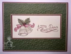 At a recent play date my demonstrator friend, Nancy Gelle, Shared her Bells & Boughs stamp set from the new Stampin' Up! Holiday Mini Cat...