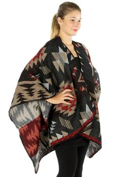 Southwestern Aztec Navajo Poncho Knit Wrap Knitted by AnytimeScarf