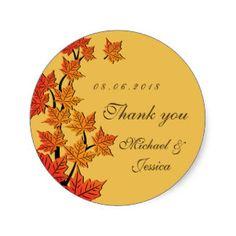 Yellow Maple Leaf Fall Autumn Wedding Sticker