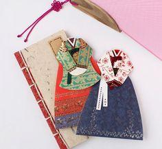 Hanbok korean traditional woman dress card set