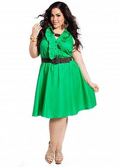 Ashley Stewart: Ruffle Front Belted Shirtdress Green $37.13