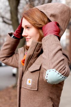 Carhartt DIY: sew elbow patches on a coat