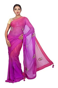 Chiffon Ombre Dark Salmon Pink to Magenta Wedding/ Party Saree with Hand-embroidered Peacocks in Stones. #ThreadTurner #DesignerSaree