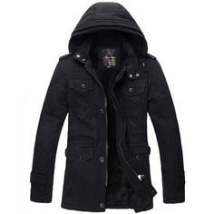 New design Men's Hood Cotton jacket winter cotton-padded overcoat Outwear Casual jackets coat