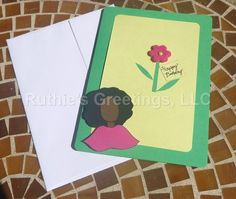 African American Birthday Card Flower by RuthiesGreetings on Etsy