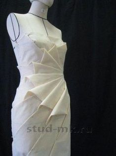 origami petal fold outcome by nelleke at origami master online class by shingo sato - PIPicStats White dress (draped, pinned to dress form); All Things Sewing and Pattern Making Draping Techniques, Techniques Couture, Fashion Sewing, Diy Fashion, Sewing Clothes, Diy Clothes, Moda Origami, Origami Folding, Diy Kleidung