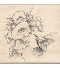 Inkadinkado Rubber Stamp-Hummingbird With Flowers