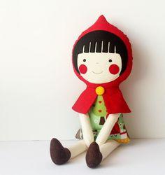 Red Riding Hood doll. Handmade rag doll. Cloth doll for children. Birthday gift ideas for girls & baby. Stuffed toy. Nursery decoration doll