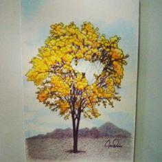 Imán para nevera, con ilustración del Araguaney, árbol nacional de Venezuela. Creación de Kris Durán