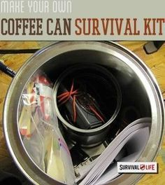 Coffee Can Survival Kit for Your Car | How To Stay Prepared When SHTF Occurs By Survival Life http://survivallife.com/2014/09/04/coffee-can-survival-kit-for-your-car/
