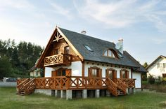 taras na bloczkach betonowych Pond Design, House Design, Forest House, Cottage Homes, Log Homes, Traditional House, House Styles, Terraces, Cabin Ideas