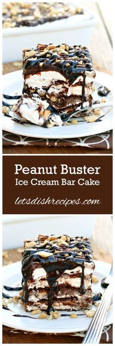 Peanut Buster Ice Cream Sandwich Cake | Have you ever had a Peanut Buster Parfait at Dairy Queen? It's a classic! And one of my favorite DQ ice cream treats. This amazingly decadent no-bake ice cream cake has all the flavors of a Peanut Buster Parfait in and easy to make, layered dessert. Trust me, you don't want to miss this!