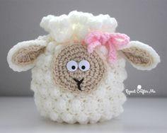 Crochet Sheep Drawstring Bag