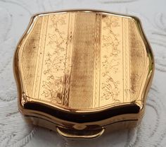 Pill box, gold tone miniature tin by Stratton, handbag accessory small tablet case, with snips and original labels.. by NanaBarbarastreasure on Etsy