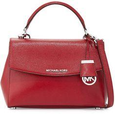 MICHAEL Michael Kors Ava Small Leather Satchel Bag, Cherry