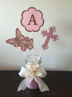 This Listing is for three double sided, premium cardstock baptism, communion, christening themed Centerpiece sticks. Each topper measures from approximately 4.5 high to 6 high, not including stick. I also have banners and cupcake toppers to match! Please see other listings. Please