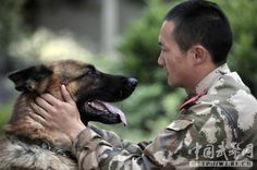Soldier and canine partner's hearfelt goodbye (PHOTOS) » DogHeirs   Where Dogs Are Family « Keywords: soldier, K9, China, farewell