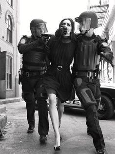 Hilary Rhoda 'State of Emergency' ph Steven Meisel for Vogue Italia, September 2006